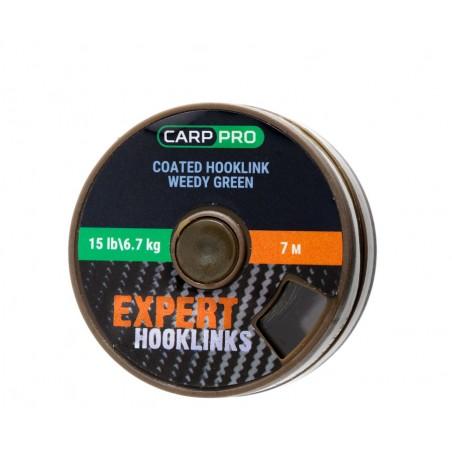 Pavadėlinė medžiaga su padengimu Carp Pro 15lb 7m žalias