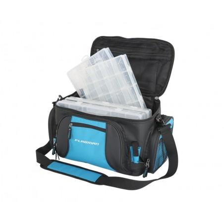 Spiningautojo krepšys Flagman Lure Bag su 4 dėžutėmis 46х22х26cm